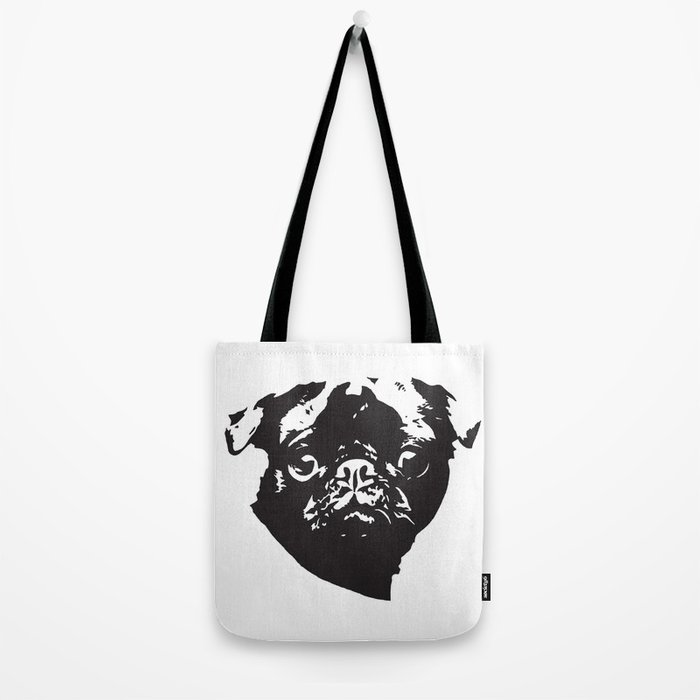 Pug Dog black white Tote Bag