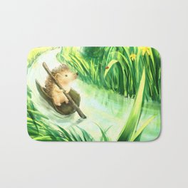 Hedgehog on a journey Bath Mat