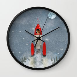 fox goes to the moon Wall Clock