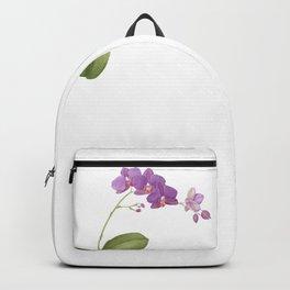 Flowering purple phalaenopsis orchid Backpack