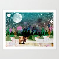 alone Art Prints featuring Alone by Jo Cheung Illustration