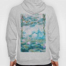 Water Lilies Monet Aqua Turquoise Hoody