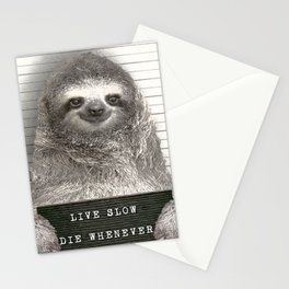 Sloth in a Mugshot Stationery Cards