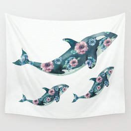Rose Garden Whales Wall Tapestry