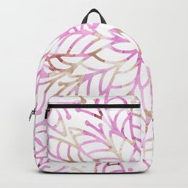 Girly blush pink brown watercolor floral mandala Backpack