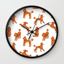Red Poodles Pattern Wall Clock