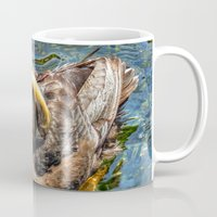puffin Mugs featuring Puffin Swim by Victoria's View