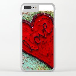 red heart of love by Swade Art Clear iPhone Case