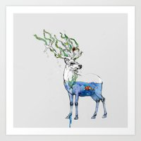 Art Print featuring Deer and fish by Podessto