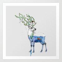 Deer and fish Art Print