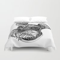 schnauzer Duvet Covers featuring Ornate Schnauzer by Adrian Dominguez