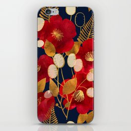 Moody floral camellias and honesty iPhone Skin