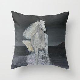 White Horse Freedom Throw Pillow