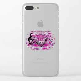 Music Musician Musicians Notes Clef Grunge Gift Clear iPhone Case