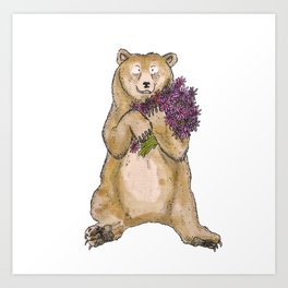 Bear with Flowers Art Print