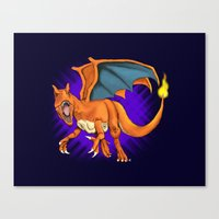 charizard Canvas Prints featuring Charizard by Aliece Carney