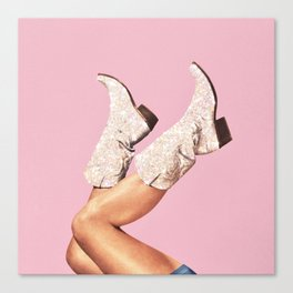 These Boots - Glitter Pink Canvas Print