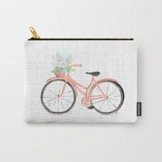 Coral Spring bicycle with flowers Carry-All Pouch