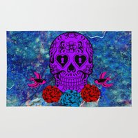 sugar skull Area & Throw Rugs featuring Sugar Skull by haroulita