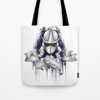 ninja turtle Tote Bags featuring Shredder -Teenage Mutant Ninja Turtle by Roe Mesquita