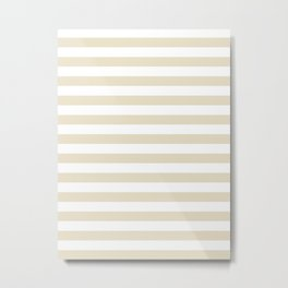 Narrow Horizontal Stripes - White and Pearl Brown Metal Print