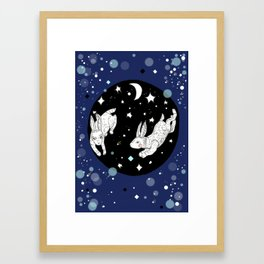 Dancing Rabbits Framed Art Print