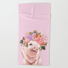 Baby Pig with Flowers Crown Beach Towel