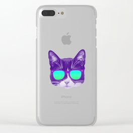 Cool Cat with Sunnies Clear iPhone Case