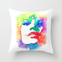 Stencil Watercolor Portrait | Stencil Portrait Watercolor Art Throw Pillow