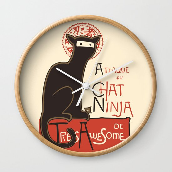 A French Ninja Cat (Le Chat Ninja) Wall Clock