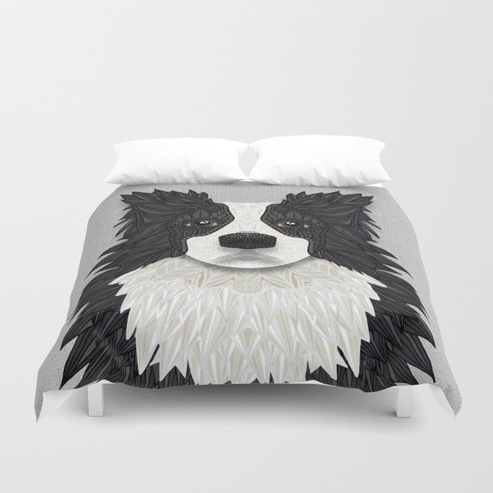 Black Border Collie Duvet Cover