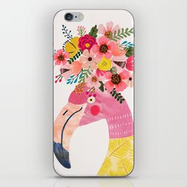 Pink flamingo with flowers on head iPhone Skin