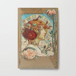 French Art Nouveau Woman Metal Print