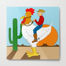 Chicken Cowboy Metal Print
