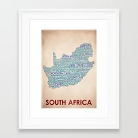 south africa Framed Art Prints featuring South Africa by Wordmaps