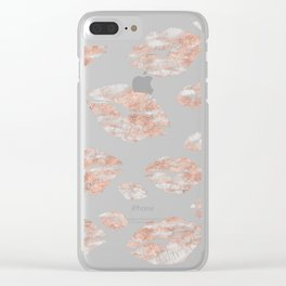 Elegant Rose Gold Marble Lips Pattern Clear iPhone Case
