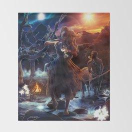XIV. Temperance Tarot Card Illustration (Color) Throw Blanket