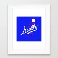 dodgers Framed Art Prints featuring Vin Scully - Dodgers Logo Themed by Wear More Tees