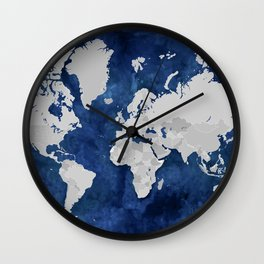 Dark blue watercolor and grey world map Wall Clock