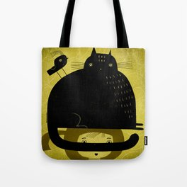 BLACK CAT AND BIRD ON HED Tote Bag