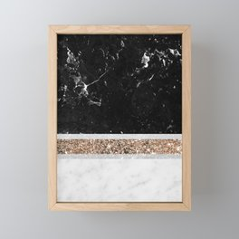 Black and White Marble Gold Glitter Stripe Glam #1 #minimal #decor #art #society6 Framed Mini Art Print