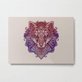 Wolf Ornament Metal Print