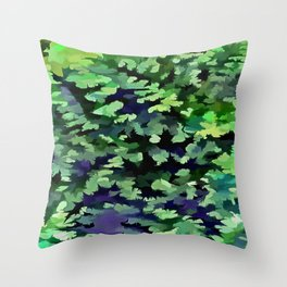 Foliage Abstract Camouflage In Forest Green and Black Throw Pillow