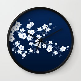 Navy Blue White Cherry Blossoms Wall Clock