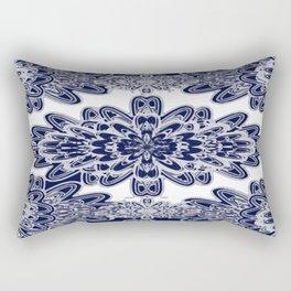 Blue Floral Damask Rectangular Pillow