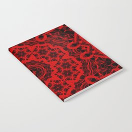 Vibrant red and black wattle mandala Notebook
