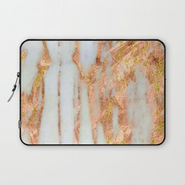 White Alabaster Marble With Flowing Gold-Glitter Veins Laptop Sleeve