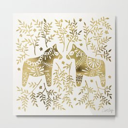 Swedish Dala Horses – Gold Palette Metal Print