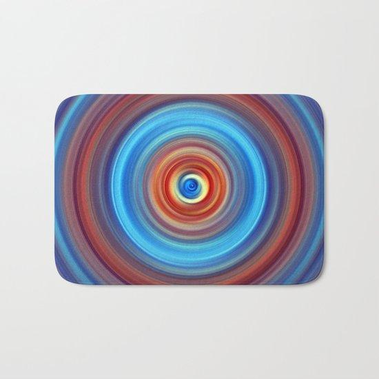 Vivid Blue and Orange Swirl Bath Mat