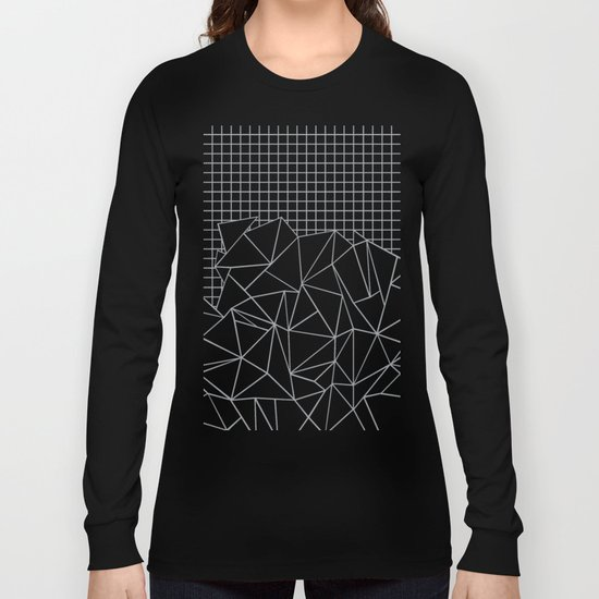 Abstract Outline Grid Grey Long Sleeve T-shirt